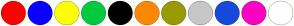 Color Scheme with #FF0000 #0A00FF #FCFF00 #00CA40 #000000 #FF8800 #989A00 #C7C7C7 #1649DC #FC00C3 #FFFFFF