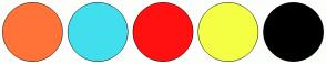 Color Scheme with #FF7338 #41DFEE #FF1111 #F4FF44 #000000