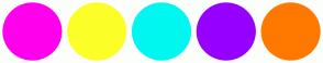 Color Scheme with #FF00EC #FCFF27 #00F7F0 #9600FF #FF7900
