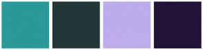 Color Scheme with #2C9999 #243738 #BEADED #201337