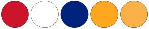 Color Scheme with #CC152B #FFFFFF #00237D #FFA71F #FAB148