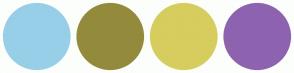 Color Scheme with #97CFE8 #948A3C #D6CD5E #8D63B0
