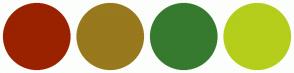Color Scheme with #9A2200 #98791D #367A2F #B4CE1B