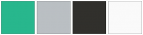 Color Scheme with #28B78D #BABFC3 #31302C #FAFAFA