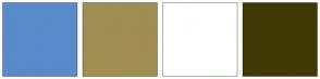 Color Scheme with #598ACA #A18E54 #FFFFFF #403905