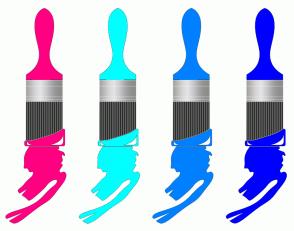Color Scheme with #FF0080 #00FFFF #0080FF #0000FF