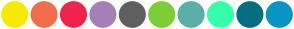 Color Scheme with #F6EB00 #F36D4B #F1224C #A580B8 #606060 #7DCD35 #5BAFA6 #35FFAB #046E82 #0795C4