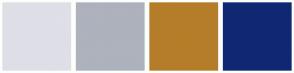 Color Scheme with #DEDFE7 #ADB2BD #B57D29 #102873