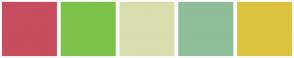 Color Scheme with #C84D5F #7DC24B #D8DEAE #8EBD99 #DDC23F