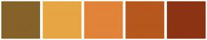 Color Scheme with #85622A #E6A644 #E18339 #B6571D #8C3313