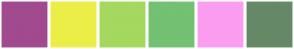 Color Scheme with #A14A8F #ECEE48 #A5D85E #73C172 #FB9DF0 #658966