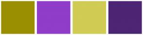Color Scheme with #9A8F00 #903DCA #D0CC54 #4C2574