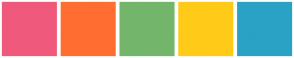Color Scheme with #EF597B #FF6D31 #73B66B #FFCB18 #29A2C6