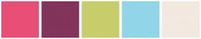 Color Scheme with #E94E77 #82345B #C8CD6B #91D5E8 #F2E9E1