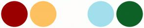 Color Scheme with #9A0000 #FDC160 #FFFCFC #A2DFEC #0E6127