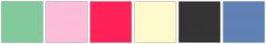 Color Scheme with #82CA9C #FCBDD8 #FF2259 #FFFACD #343434 #6082B6