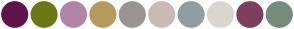 Color Scheme with #61144A #6D7717 #B284A8 #B79A5E #9A9592 #C9BAB7 #919DA3 #DAD5CF #7E3F5E #758C7C