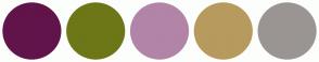 Color Scheme with #61144A #6D7717 #B284A8 #B79A5E #9A9592