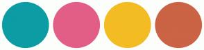 Color Scheme with #0D9CA4 #E25E87 #F3BC23 #CB6345