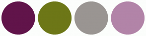 Color Scheme with #61144A #6D7717 #9A9592 #B284A8