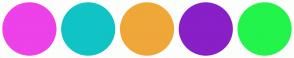 Color Scheme with #ED41E9 #10C3C5 #EFA738 #891FC6 #22F44B