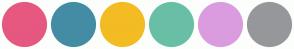 Color Scheme with #E6587F #448CA4 #F3BC23 #69BFA5 #DA9CDF #96979B