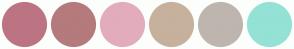 Color Scheme with #BD7482 #B57A7C #E2ACBC #C6B19C #BEB5AF #93E2D5