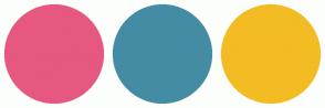 Color Scheme with #E6587F #448CA4 #F3BC23