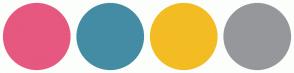 Color Scheme with #E6587F #448CA4 #F3BC23 #96979B