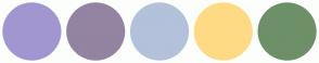 Color Scheme with #A196D0 #9384A1 #B3C1DA #FEDA84 #6D9068