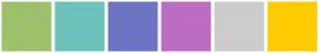 Color Scheme with #9EC16C #6DC3BB #6D74C3 #BB6DC3 #CCCCCC #FFCC00