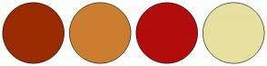 Color Scheme with #9A2B00 #CC7E30 #B30C0C #E8E09F