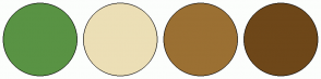 Color Scheme with #599344 #ECDFB6 #9B7033 #6E4719