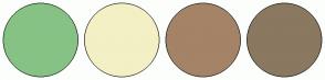 Color Scheme with #87C285 #F3F0C5 #A48367 #8A7860