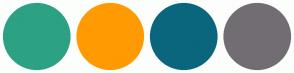 Color Scheme with #2DA184 #FF9A03 #0A667D #726D73