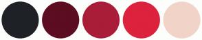 Color Scheme with #1E2226 #5C0D20 #A91D38 #DC223D #F1D4C7