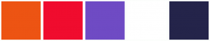 Color Scheme with #ED5413 #F00C2E #6F4BC4 #FFFFFF #24244A