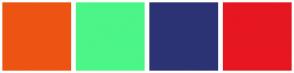 Color Scheme with #ED5413 #4CF587 #2B3375 #E61721