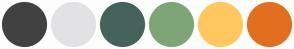 Color Scheme with #414141 #E2E2E4 #46635B #7EA575 #FFC85E #E36F1E