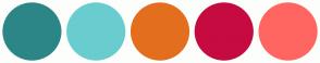 Color Scheme with #2C8687 #69CDCF #E36F1E #C60B40 #FF6661