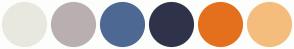 Color Scheme with #E8E8DF #BAAFB0 #4E6894 #2F334A #E4701E #F5BD7D