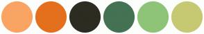 Color Scheme with #F9A463 #E4701E #2C2C22 #457253 #8EC478 #C6C972