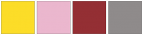 Color Scheme with #FCDD28 #EBB7CE #942F34 #8F8B8B