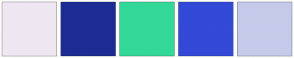 Color Scheme with #EFE7F2 #1C2C94 #33D899 #3349D8 #C5CAE9