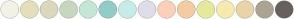 Color Scheme with #F2F2E6 #E3DFBA #DBD8BE #C8D6BF #C4E7D5 #93CCC6 #C6ECE9 #DFDDEB #FCD0B8 #F5CBA2 #E6E99D #F7EAAE #E9D4A6 #ABA495 #66615C