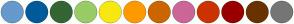 Color Scheme with #6699CC #005B9A #336633 #99CC66 #F7E811 #FF9900 #CC6600 #CC6699 #CC3300 #990000 #683300 #767676