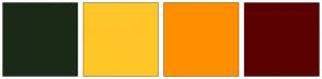 Color Scheme with #1B2A16 #FFC629 #FF8F00 #5A0000