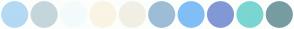 Color Scheme with #B3D9F4 #C4D6DC #F3FBFC #FAF4E5 #F2EFE5 #9DBDD6 #81BEF6 #8298D6 #7AD6D1 #779CA2