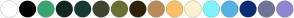 Color Scheme with #FFFFFF #000000 #3CA46F #132821 #193934 #3E462F #6C6F32 #31220B #BA8A59 #FFBD68 #FAF2CE #7EF3FF #53B2E3 #0B2E72 #6F7597 #8F85D0