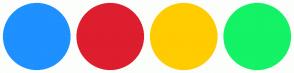 Color Scheme with #1E90FF #DD1E2F #FFCC00 #14F266